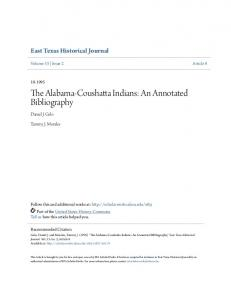 The Alabama-Coushatta Indians: An Annotated Bibliography