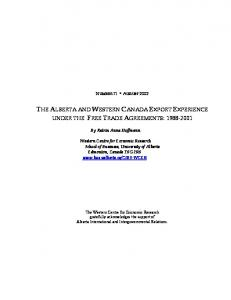 THE ALBERTA AND WESTERN CANADA EXPORT EXPERIENCE