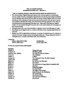 THE ALTAMONT SCHOOL SUMMER READING LIST - GRADE 11