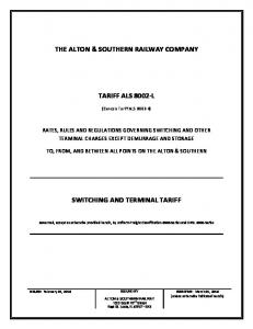 THE ALTON & SOUTHERN RAILWAY COMPANY TARIFF ALS 8002-L