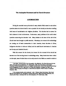 The Anabaptist Movement and Its Church Structure