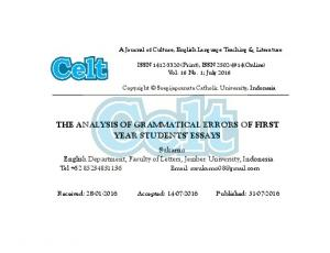 THE ANALYSIS OF GRAMMATICAL ERRORS OF FIRST YEAR STUDENTS ESSAYS