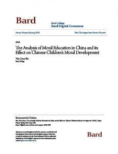 The Analysis of Moral Education in China and its Effect on Chinese Children s Moral Development