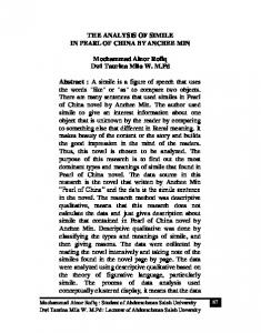 THE ANALYSIS OF SIMILE IN PEARL OF CHINA BY ANCHEE MIN. Mochammad Ainor Rofiq Dwi Taurina Mila W. M.Pd