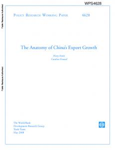 The Anatomy of China s Export Growth