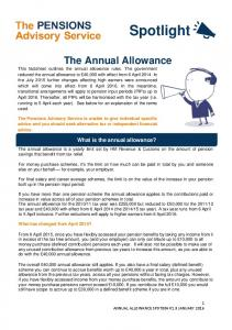 The Annual Allowance. What is the annual allowance?