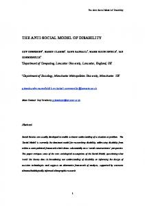 THE ANTI-SOCIAL MODEL OF DISABILITY