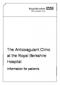 The Anticoagulant Clinic at the Royal Berkshire Hospital