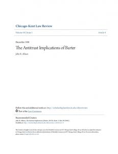 The Antitrust Implications of Barter