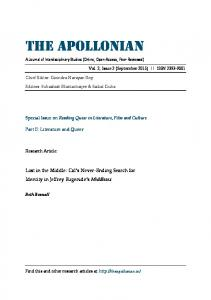THE APOLLONIAN A Journal of Interdisciplinary Studies (Online, Open-Access, Peer-Reviewed)