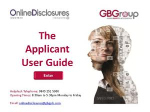 The Applicant User Guide