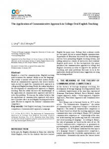 The Application of Communicative Approach in College Oral English Teaching