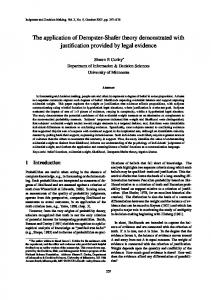 The application of Dempster-Shafer theory demonstrated with justification provided by legal evidence