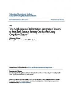 The Application of Information Integration Theory to Standard Setting: Setting Cut Scores Using Cognitive Theory