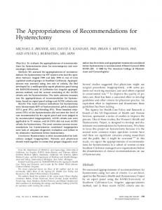 The Appropriateness of Recommendations for Hysterectomy