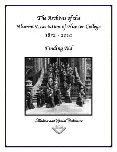 The Archives of the Alumni Association of Hunter College Finding Aid. Archives and Special Collections