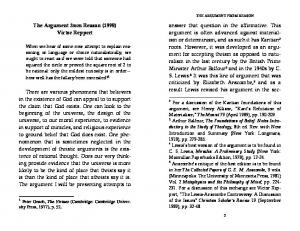 The Argument from Reason (1998) Victor Reppert