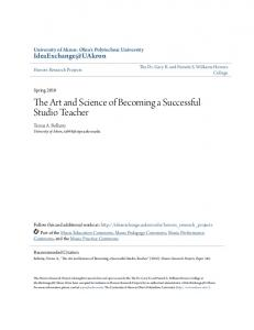 The Art and Science of Becoming a Successful Studio Teacher