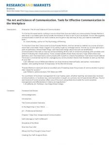 The Art and Science of Communication. Tools for Effective Communication in the Workplace