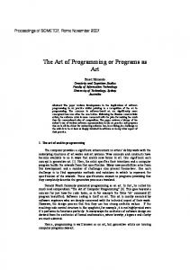 The Art of Programming or Programs as Art
