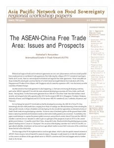 The ASEAN-China Free Trade Area: Issues and Prospects