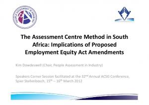 The Assessment Centre Method in South Africa: Implications of Proposed