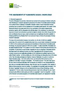 THE ASSESSMENT OF HUMANISTIC SOCIAL KNOWLEDGE