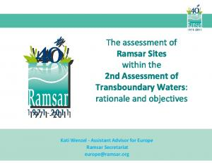 The assessment of Ramsar Sites within the 2nd Assessment of Transboundary Waters: rationale and objectives