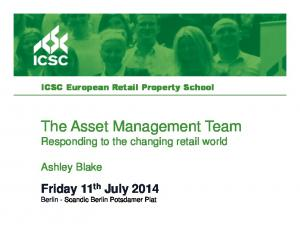 The Asset Management Team Responding to the changing retail world