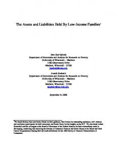 The Assets and Liabilities Held By Low-Income Families *