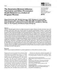 The Association Between Influenza Vaccination and Other Preventative Health Behaviors in a Cohort of Pregnant Women