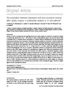 The association between tranexamic acid and convulsive seizures after cardiac surgery: a multivariate analysis in patients*