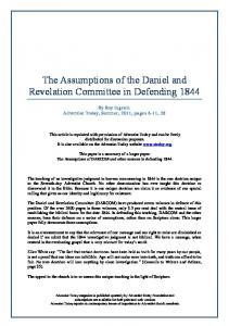 The Assumptions of the Daniel and Revelation Committee in Defending 1844