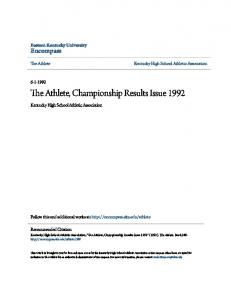 The Athlete, Championship Results Issue 1992