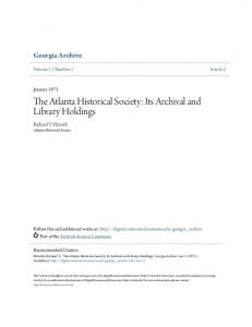 The Atlanta Historical Society: Its Archival and Library Holdings
