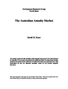 The Australian Annuity Market