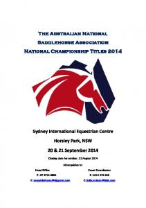 The Australian National Saddlehorse Association National Championship Titles 2014