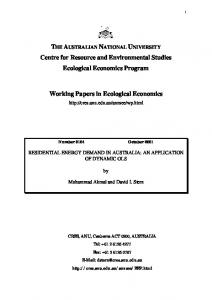 THE AUSTRALIAN NATIONAL UNIVERSITY Centre for Resource and Environmental Studies Ecological Economics Program. Working Papers in Ecological Economics