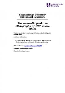 The authentic punk: an ethnography of DIY music ethics