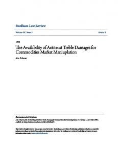 The Availability of Antitrust Treble Damages for Commodities Market Maniuplation