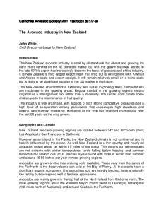 The Avocado Industry in New Zealand