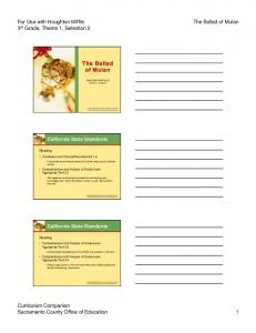 The Ballad of Mulan. For Use with Houghton Mifflin 3 rd Grade, Theme 1, Selection 2. The Ballad of Mulan