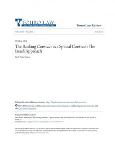 The Banking Contract as a Special Contract: The Israeli Approach