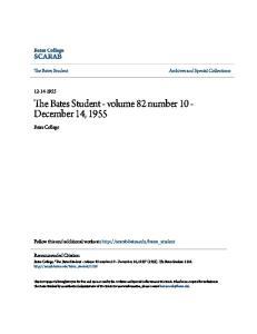 The Bates Student - volume 82 number 10 - December 14, 1955