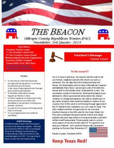 THE BEACON Gillespie County Republican Women (PAC) Newsletter, 3rd Quarter, 2014