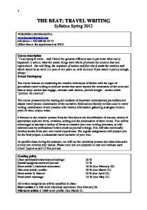THE BEAT: TRAVEL WRITING Syllabus Spring 2012