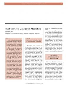 The Behavioral Genetics of Alcoholism