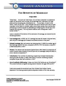 THE BENEFITS OF MARRIAGE