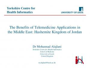 The Benefits of Telemedicine Applications in the Middle East: Hashemite Kingdom of Jordan