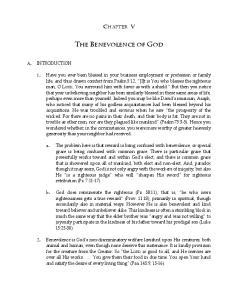 THE BENEVOLENCE OF GOD